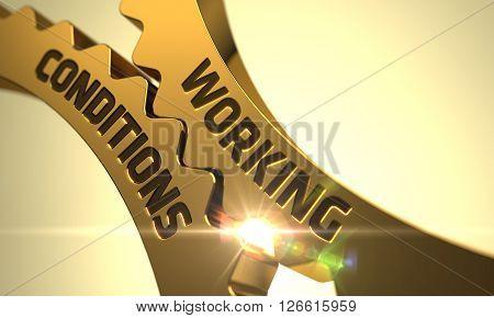 Working Conditions Golden Metallic Gears. Working Conditions on Mechanism of Golden Cogwheels with Glow Effect. Working Conditions on Mechanism of Golden Cogwheels. 3D Render.