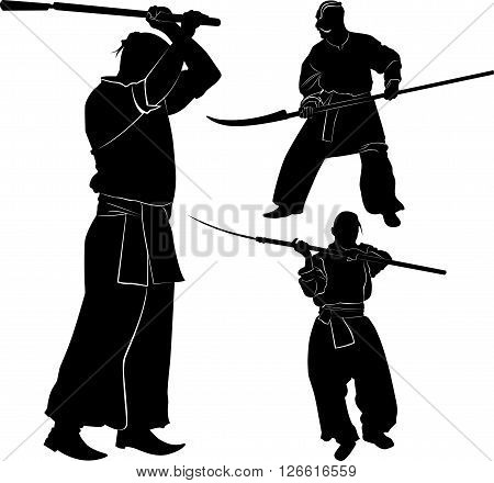 Cossacks Silhouette of a Cossack with a saber on a white background
