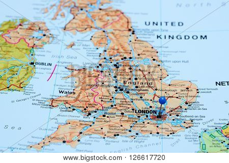 London pinned on a map of UK