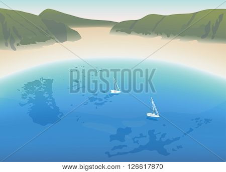 Horseshoe white sandy beach with crystal clear blue sea and mountains vector illustration
