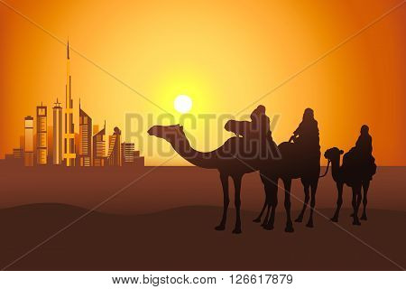 Three camel riders at the sunset in the desert on the Dubai city background vector illustration