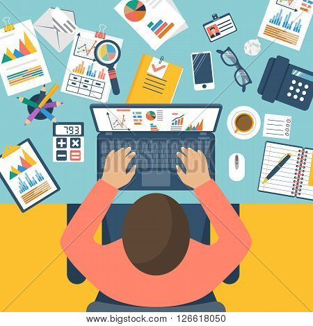 Working with financial papers. Accounting concept. Organization process analytics research planning report market analysis. Flat style vector. Man at table with documents.