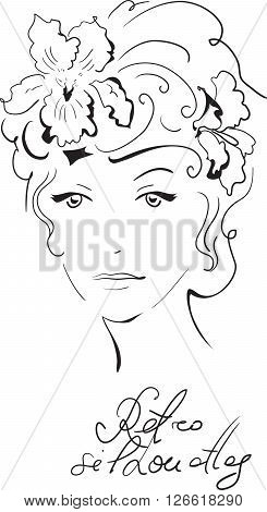 Stylish retro beautiful model for fashion design. Hand-drawn graphic illustration. Portrait of pretty woman with iris on her head. Sketch drawing, elegant vector style.