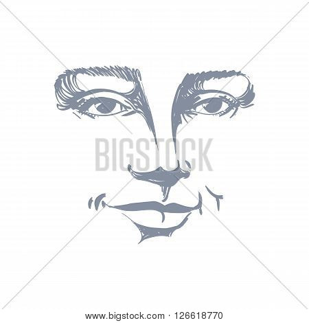 Hand-drawn Portrait Of White-skin Flirting Woman, Face Emotions Theme Illustration. Beautiful Sexy L