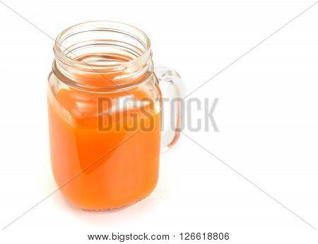 Healthy food: pumpkin juice, apple, orange, multifruit. Studio Photo