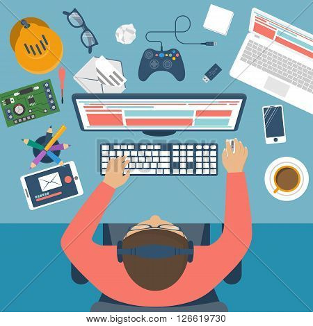 Programmer at desk. Workplace programmer player programmer geek gamer. Flat design vector illustration. Modern computer technology and gadgets.