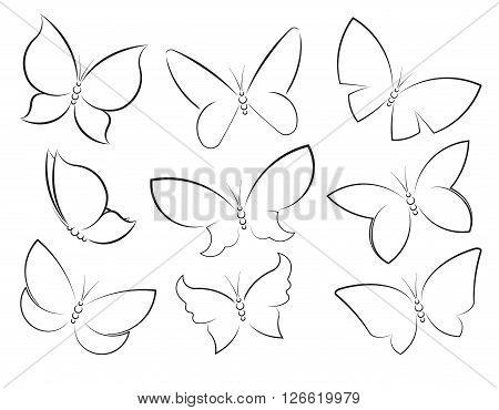 Butterflies Vector Set Outlined Silhouettes For Design, Icons, Symbols, Decoration Or Tattoos.