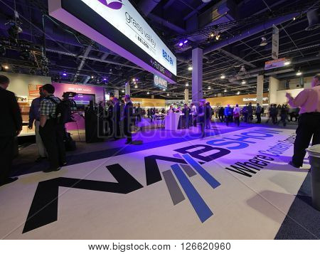 LAS VEGAS, NV - NAB 2016, an annual trade show by the National Association of Broadcasters.1700+ exhibitors on 2000000 sq feet space of Las Vegas Convention Center.