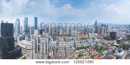 Skyline panorama of urban Nanjing city on a sunny day in srping