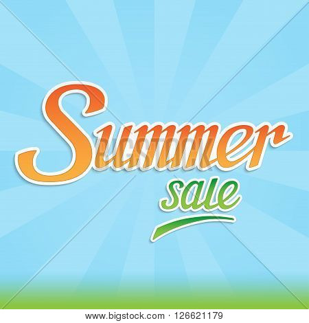 Summer sale lettering banner. Summer sale background with handwritten letters.