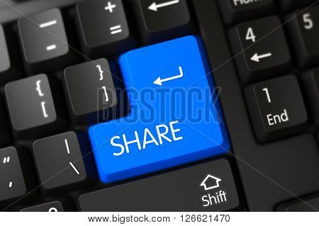 Computer Keyboard with Hot Keypad for Share. Blue Share Button on Keyboard. Share Concept: Modernized Keyboard with Share on Blue Enter Keypad Background, Selected Focus. 3D.
