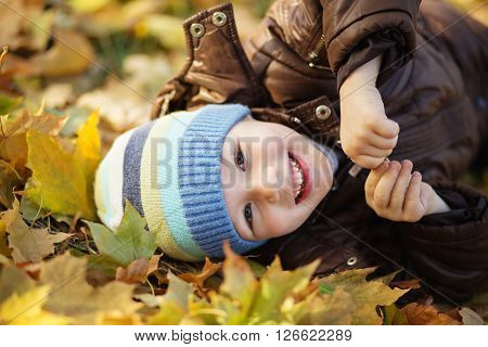 Portrait Of A Cheerful Little Boy Wallow In Fall Foliage