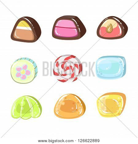 Sweets Set Of Colorful Flat Vector Icons In Cartoon Style Isolated On White Background
