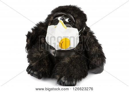 Soft Toy Gorilla Sick Wearing Flu Mask