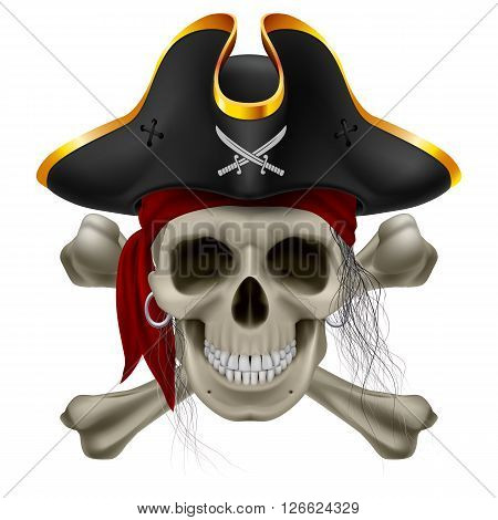 Pirate skull in red bandana and cocked hat with crossed bones and hair tuft
