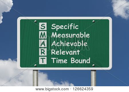 Writing your SMART Goals A green Road Sign with the SMART Goals listed isolated with sky background