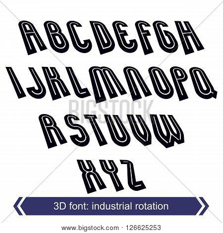 3d retro typeset with lines in rotation vector uppercase calligraphic letters.