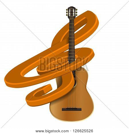 Stock volume treble clef on an acoustic guitar. Isolated object can be used with any text or image.