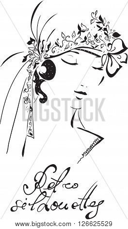 Stylish retro beautiful bride model for fashion wedding design. Hand-drawn graphic illustration. Portrait of pretty woman with flowers on her head . Sketch drawing, elegant vector style.