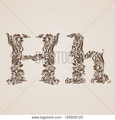 Handsomely decorated letter h in upper and lower case.