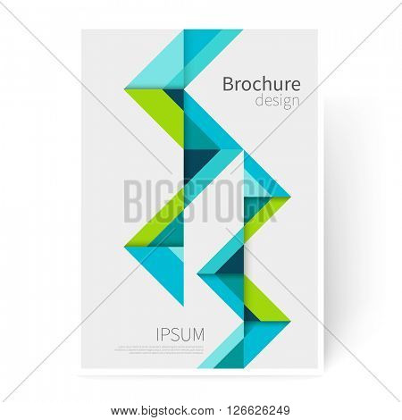Brochure, leaflet, flyer, cover template. Modern Geometric Abstract background green & blue triangles. minimalistic design creative concept stock-vector 10 EPS