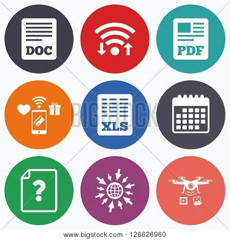 Wifi, mobile payments and drones icons. File document and question icons. XLS, PDF and DOC file symbols. Download or save doc signs. Calendar symbol.