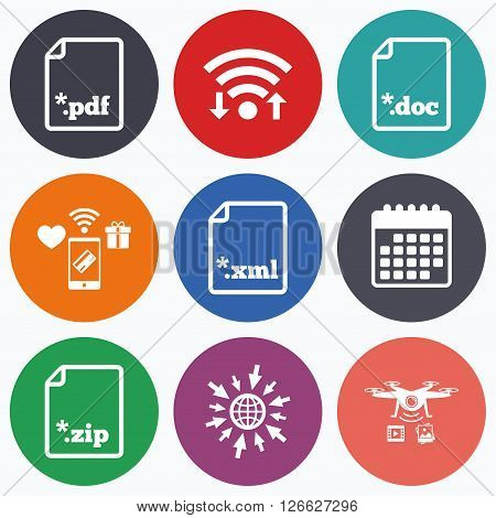 Wifi, mobile payments and drones icons. Download document icons. File extensions symbols. PDF, ZIP zipped, XML and DOC signs. Calendar symbol.