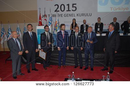 ANKARA/TURKEY-SEPTEMBER 12, 2015: JCI (Junior Chamber International) President Ismail Haznedar (2nd left) at ATO Congresium Hall for the General Assembly of JCI Turkey 2015. September 12, 2015-Ankara/Turkey