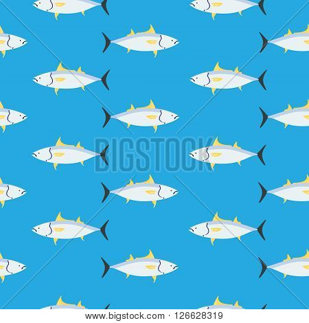 Vector illustration seamless pattern with tuna fish on blue background  design