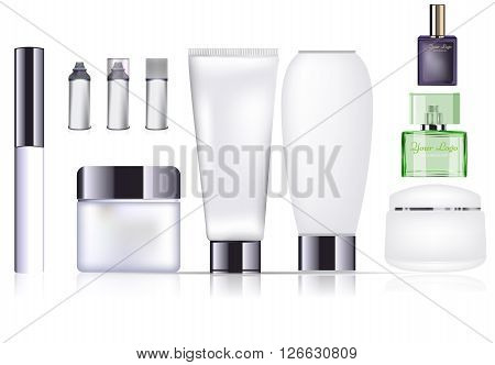 Blank cosmetic and parfume package collection set isolated on white background. Vector mock up design.