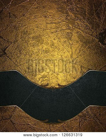 Grunge Gold Background With A Blue Plate. Template For Design. Copy Space For Ad Brochure Or Announc
