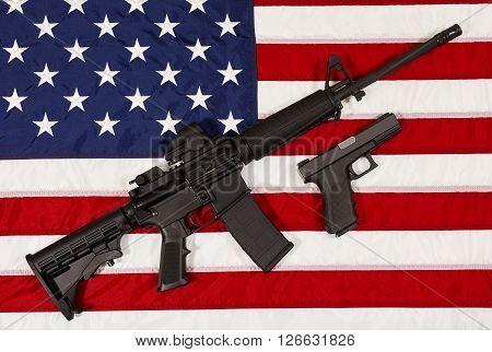 Ar15 M4A1 Style Weapon Automatic Rifle And Pistol On Usa Flag