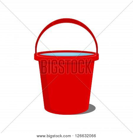 Vector illustration full of water red bucket icon sign or symbols for app. Bucket for garden