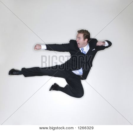 Businessman Karate Kick