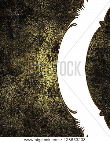 Dark Grunge Background With White Neckline. Template For Design. Copy Space For Ad Brochure Or Annou