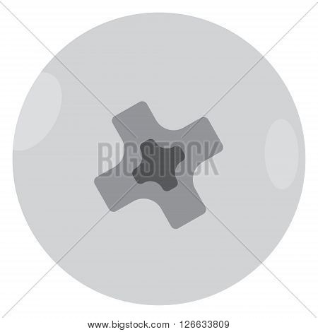 Vector illustration metal screw bolt top view. Screw head icon