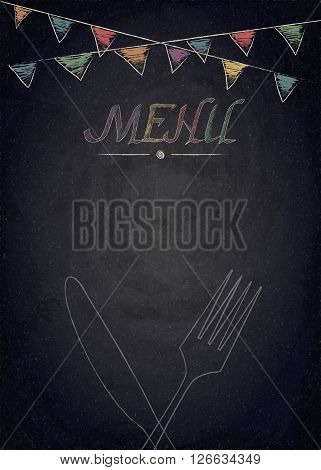 Menu Of Restaurant On Black Chalkboard Background