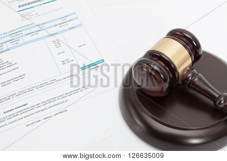 Unpaid Bill With Wooden Gavel Over It Series