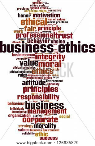 Business ethics word cloud concept. Vector illustration