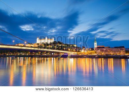 BRATISLAVA, SLOVAKIA - APRIL 19, 2016: View of Bratislava city center over river Danube on April 19, 2016.