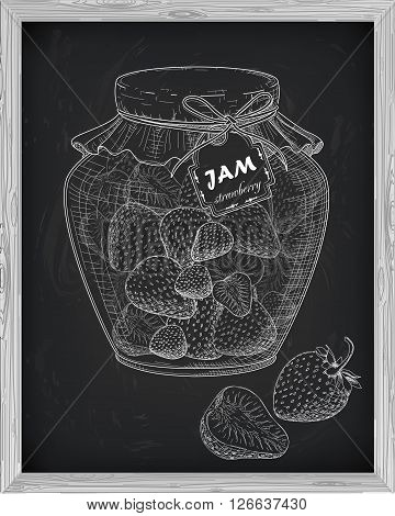 Beautiful Jar Of Homemade Jam With Strawberry On A Black Background