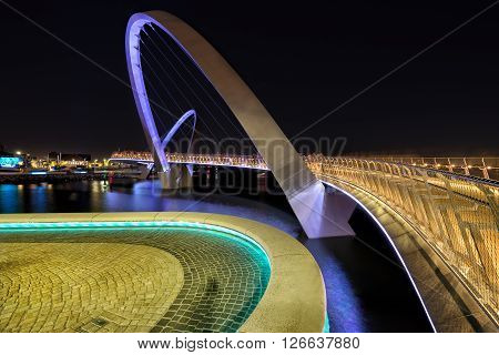 public bridge across the swan river on elizabeth quay in perth western australia
