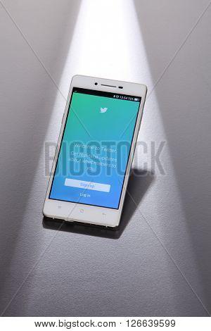 Kuala Lumpur,Malaysia -April 13 2016 twitter app log in page on the smart phone