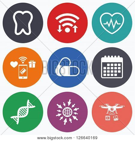 Wifi, mobile payments and drones icons. Maternity icons. Pills, tooth, DNA and heart cardiogram signs. Heartbeat symbol. Deoxyribonucleic acid. Dental care. Calendar symbol.