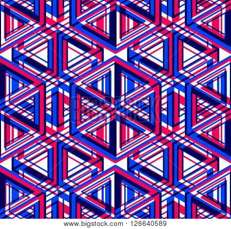 Bright Illusory Abstract Geometric Seamless Pattern With 3D Geometric Figures. Vector Transparent Su