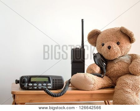 Cute bear holding speaker of black portable amateur radio for radio communication theme.