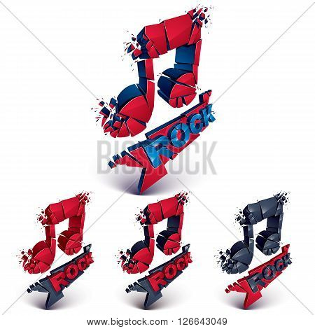 Set Of Red And Black 3D Vector Musical Notes Created From Refractions Isolated On White. Three-dimen