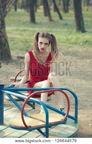 Pretty Girl On Carousel