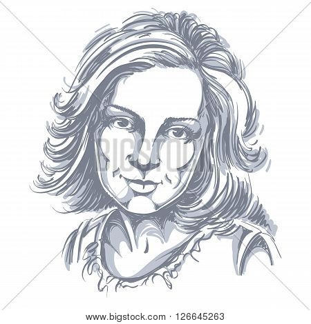 Graphic Vector Hand-drawn Illustration Of White Skin Attractive Melancholic Lady With Stylish Haircu