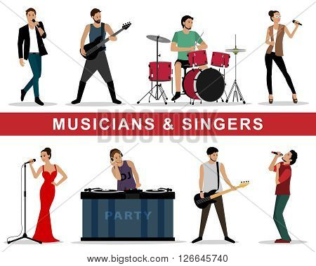 Vector set of musicians and singers: guitarists, drummers, singers, dj